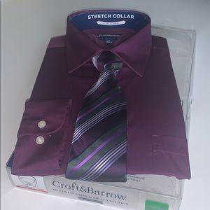 Croft & barrow Men's shirt/tie. S 161/2-17. 34/35